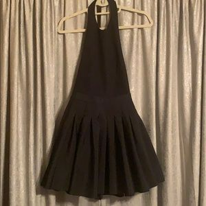 Black backless cocktail dress.
